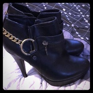 Black and gold ankle boots